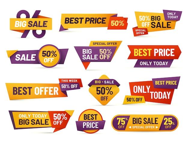Tagi sprzedaży detalicznej. niska cena ulotki, najlepsza oferta cenowa i znacząca cena sprzedaży znaczek znaczek na białym tle kolekcja Premium Wektorów