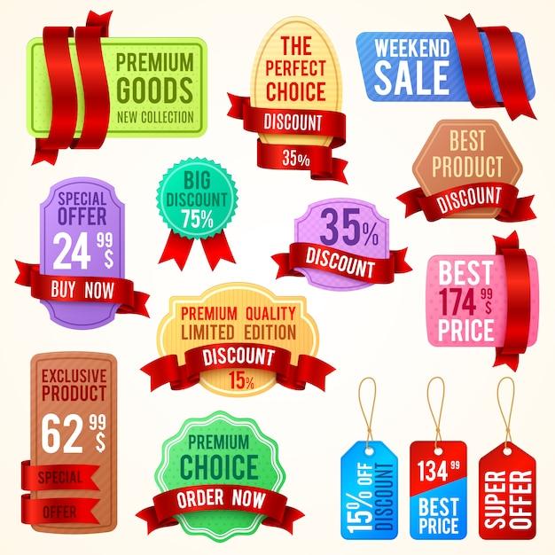 Tagi sprzedaży i rabatów, banery wstążkowe z tekstem promocyjnym. odznaki promocyjne wektor ustawić najlepszą cenę i ekskluzywny produkt, ilustracja etykiety oferty specjalnej Premium Wektorów