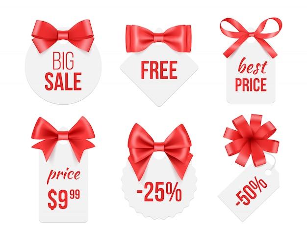 Tagi Ze Wstążkami. Odznaki Promocyjne Z Czerwonymi I Złotymi Satynowymi Kokardkami Reklamującymi Szablon Do Dużych Zdjęć Ze Sprzedaży Premium Wektorów