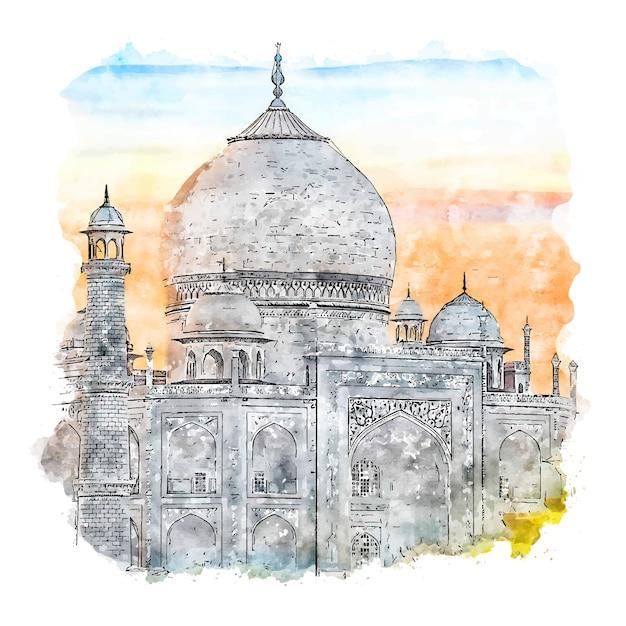 Taj Mahal Indie Szkic Akwarela Ręcznie Rysowane Ilustracji Premium Wektorów