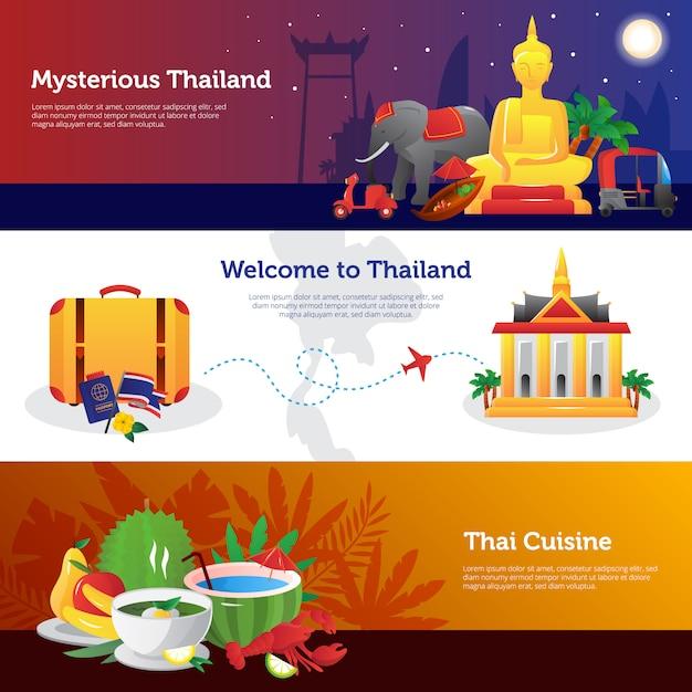 Tajlandia dla strony internetowej podróżników z informacjami na temat transportu kuchni tajskiej Darmowych Wektorów