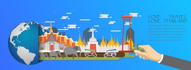 Tajlandia infographic, globalny z punktami zwrotnymi bangkok Premium Wektorów