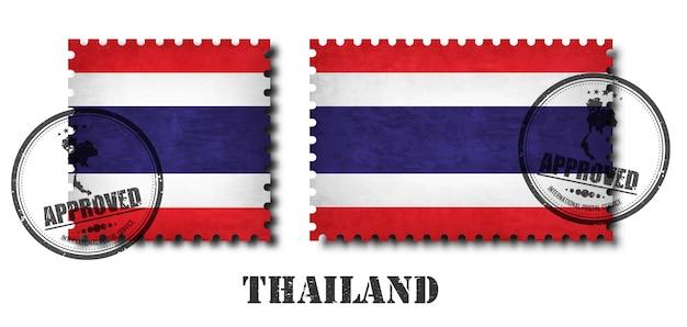 Tajlandia lub tajlandzki flaga wzoru znaczek pocztowy Premium Wektorów