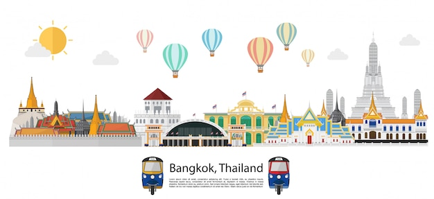 Tajlandia, Punkty Zwrotni I Podróży Tło Premium Wektorów
