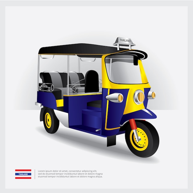Tajlandia tuk tuk samochodowa wektorowa ilustracja Premium Wektorów
