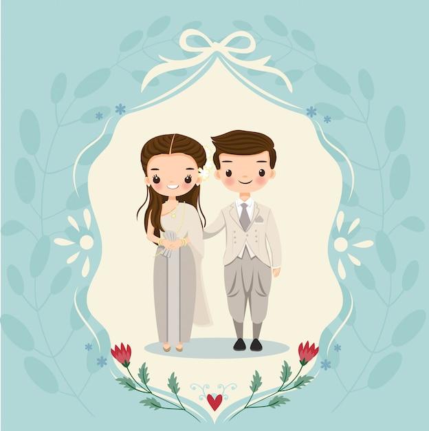 Tajlandzki państwo młodzi na karcie zaproszeń ślubnych Premium Wektorów