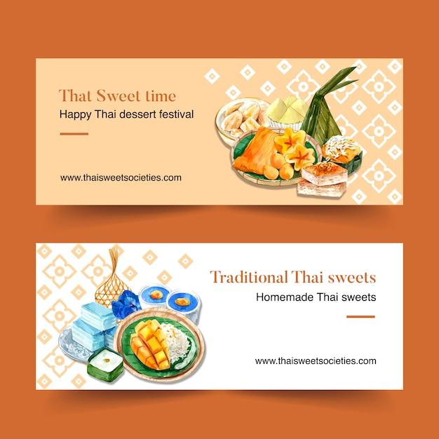 Tajlandzki Słodki Sztandaru Projekt Z Różnorodną Deser Akwareli Ilustracją. Darmowych Wektorów