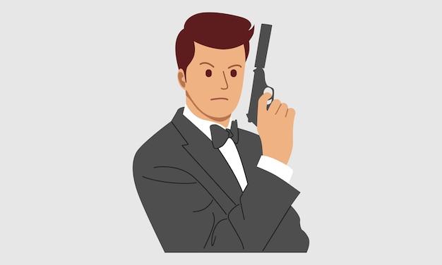 Tajny Agent, Szpieg, Policjant, Detektyw, Ochroniarz Z Bronią Premium Wektorów