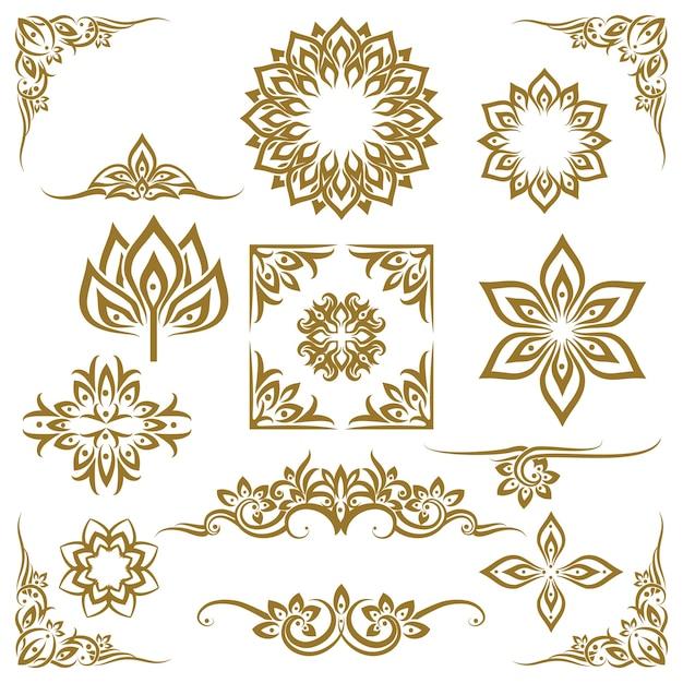 Tajski Etniczne Elementy Dekoracyjne Wektor. Element Etniczny, Dekoracyjny Ornament, Etniczna Ilustracja Tajska Darmowych Wektorów