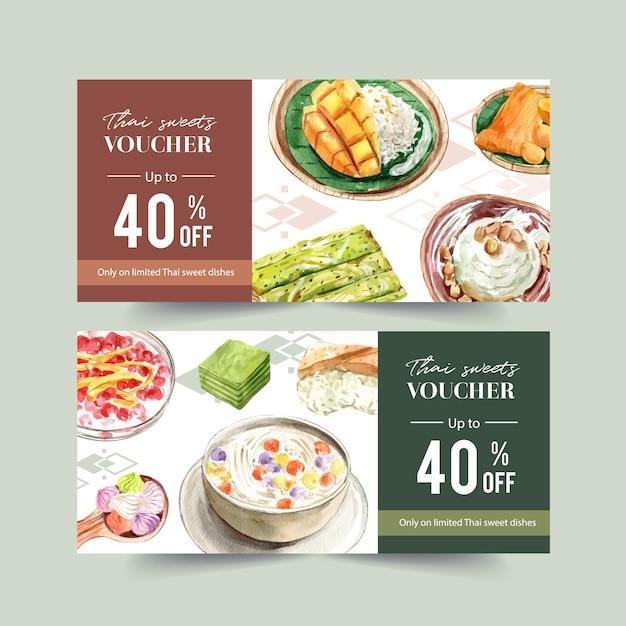 Tajski słodki kupon projekt z lepkim ryżem, mango, lody akwarela ilustracji. Darmowych Wektorów