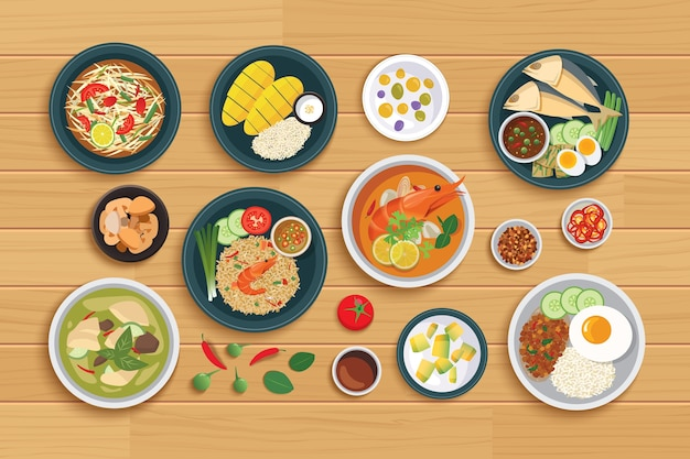 Tajskie Jedzenie I Składnik Na Drewnianym Tle. Premium Wektorów