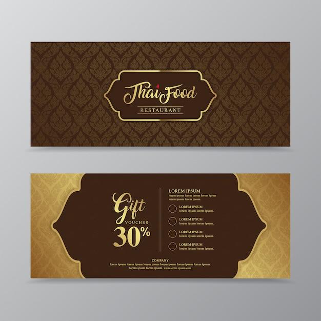 Tajskie Jedzenie I Tajski Restauracja Luksusowy Prezent Voucher Szablon Do Drukowania Premium Wektorów
