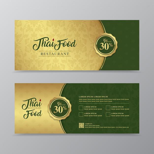 Tajskie jedzenie i tajski restauracja luksusowy prezent voucher szablon projektu Premium Wektorów