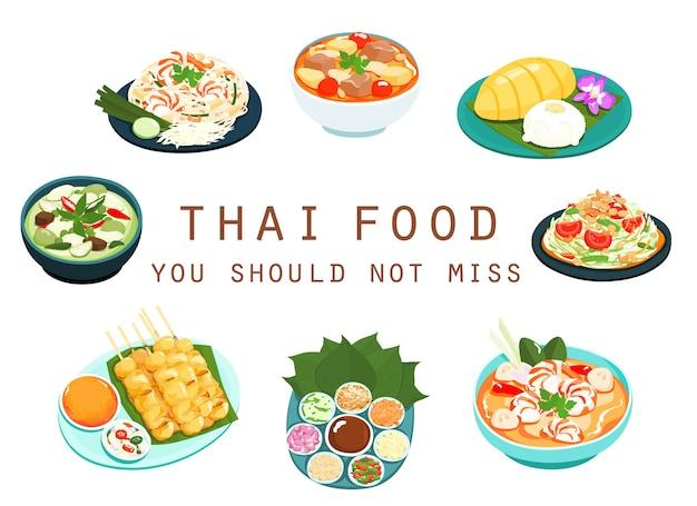 Tajskie Jedzenie Nie Powinno Zabraknąć Premium Wektorów