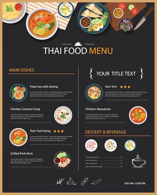 Tajskie Jedzenie Restauracja Menu Szablon Płaska Konstrukcja Premium Wektorów