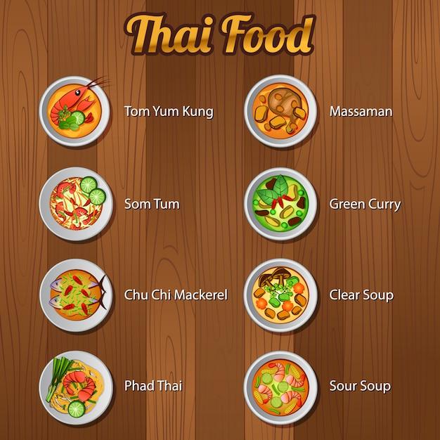 Tajskie pyszne i słynne jedzenie Premium Wektorów