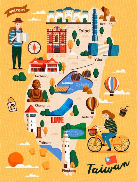 Tajwan Mapa Podróży, Ręcznie Rysowane Atrakcje I Specjalności Z Dwoma Podróżnikami Premium Wektorów