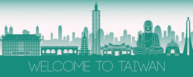 Tajwan sławny punkt orientacyjny zielony sylwetka projekt Premium Wektorów