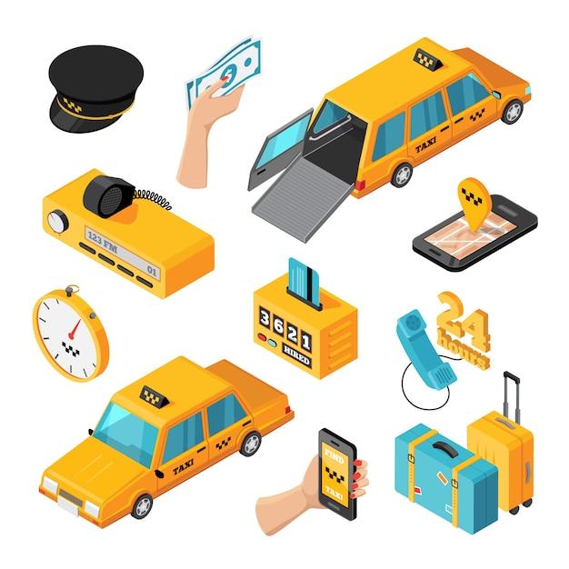 Taksówki Izometryczne Na Białym Tle Ikony Darmowych Wektorów