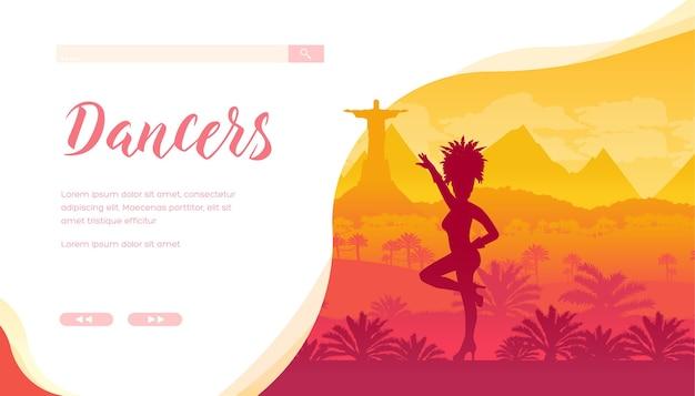Tancerka W Karnawałowym Stroju O Naturalnym Pięknie Premium Wektorów