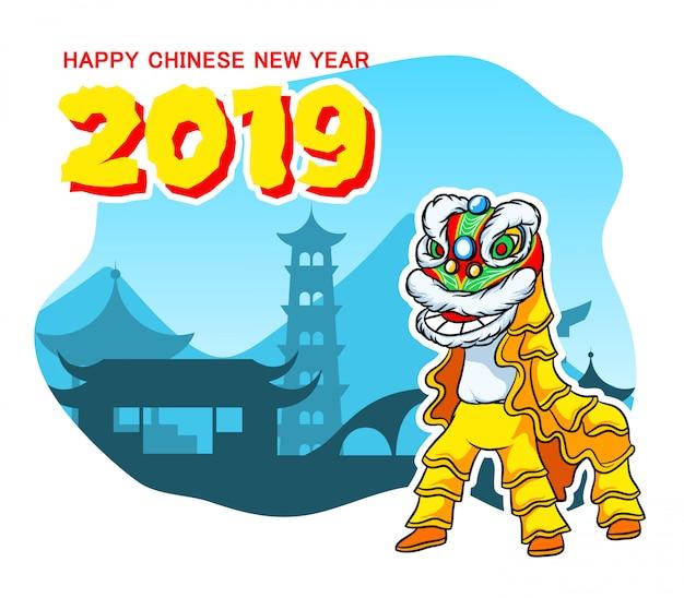Tancerz lion dać chińskie powitania nowego roku Premium Wektorów
