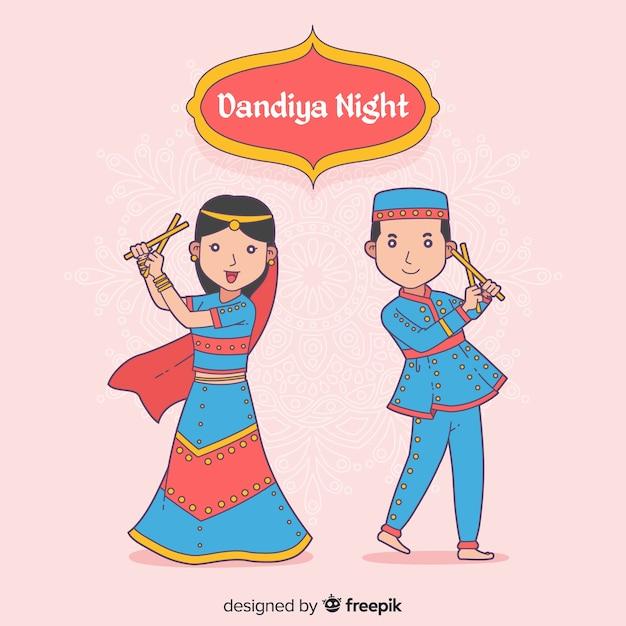 Tancerze dandiya Darmowych Wektorów