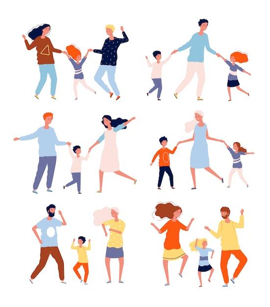 Tańcząca Rodzina. Dzieci Bawiące Się I Tańczące Z Kolekcją Znaków Tancerzy Rodziców, Matki, Ojca I Dzieci Premium Wektorów
