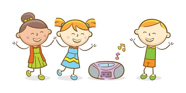 Tańczące Dzieci | Premium Wektor