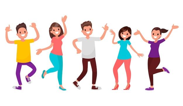 Tańczący Ludzie. Szczęśliwi Mężczyźni I Kobiety Poruszają Się W Rytm Muzyki. Premium Wektorów
