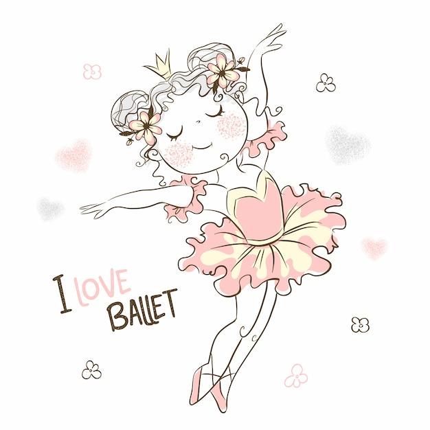 Tańczy śliczna Baletnica W Różowej Spódniczce Baletnicy. Premium Wektorów