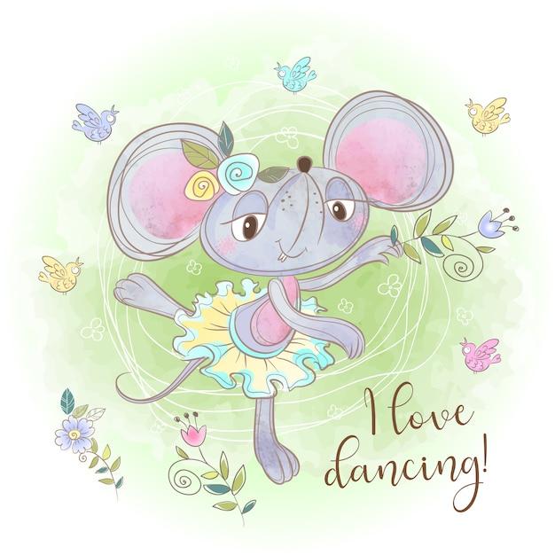 Taniec Baleriny Cute Myszy. Kocham Tańczyć. Napis. Premium Wektorów
