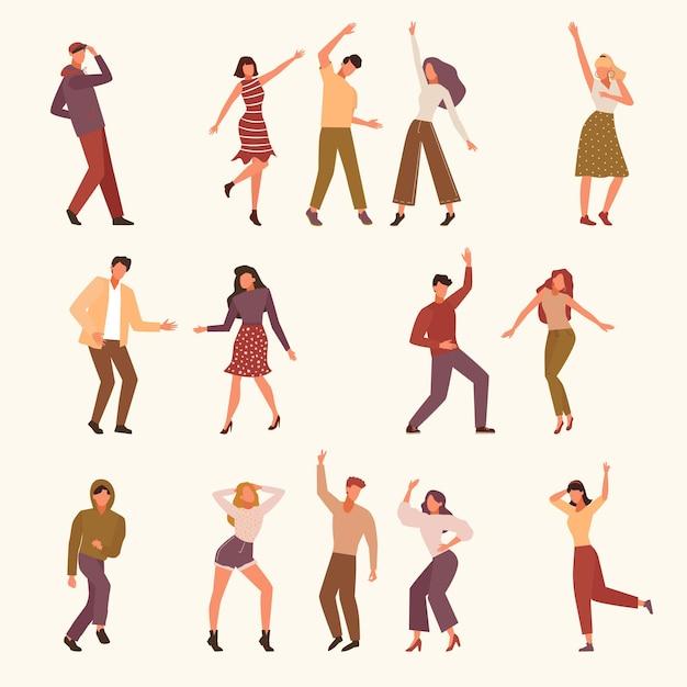 Taniec Ilustracji Ludzi Premium Wektorów