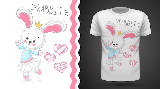 Taniec królik - pomysł na t-shirt z nadrukiem Premium Wektorów