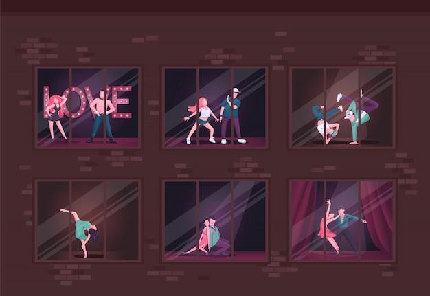 Taniec Studio Płaski Ilustracja Premium Wektorów