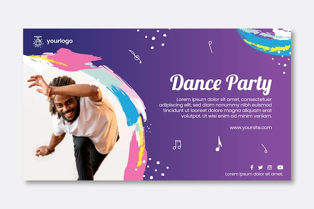 Taniec Szablon Transparent Party Premium Wektorów