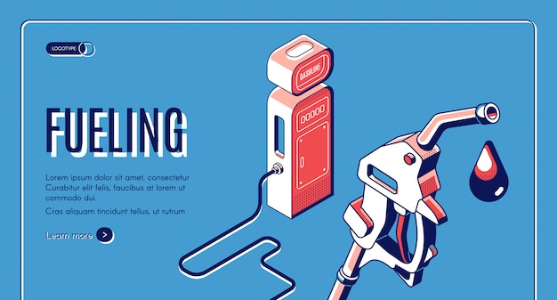 Tankowanie, Gaz, Benzyna, Stacja Benzynowa Izometryczny Banner. Darmowych Wektorów