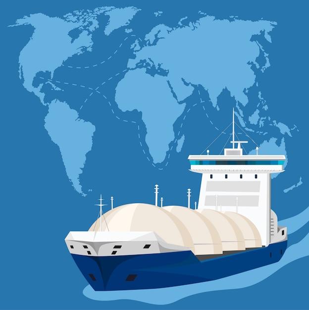 Tankowiec W Seascape. Transport Skroplonego Gazu Ropopochodnego Lpg I Produktów Petrochemicznych. Gazowce Pod Ciśnieniem świadczące Usługi Morskie, Międzynarodowy łańcuch Dostaw Gazu. Premium Wektorów
