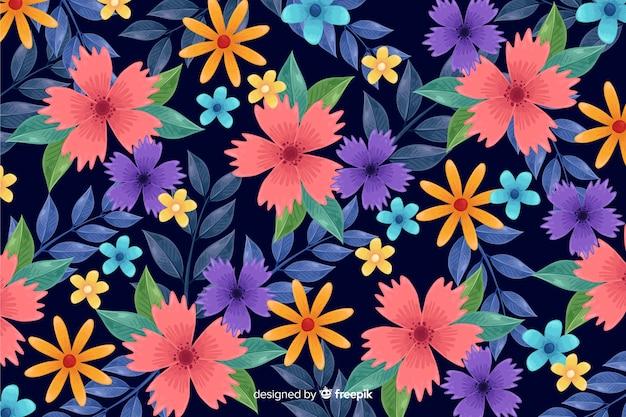 Tapeta dekoracyjna kolorowe kwiaty Darmowych Wektorów
