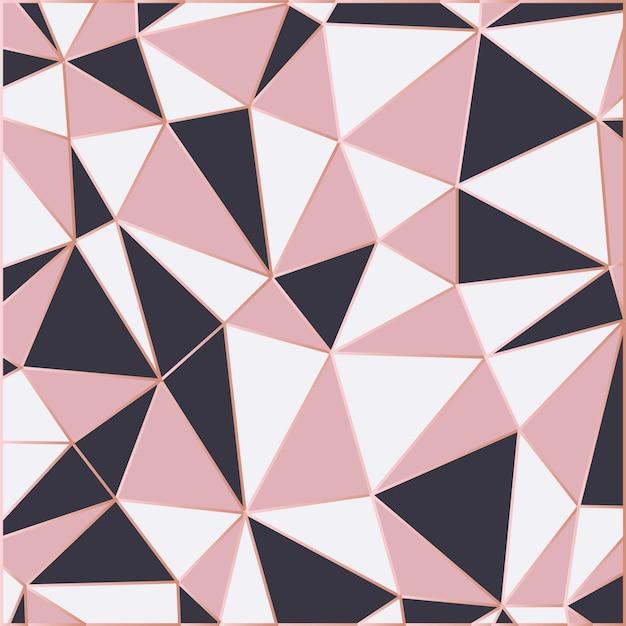 Tapeta Mozaikowa W Kolorze Różowego Złota I Czerni Premium Wektorów