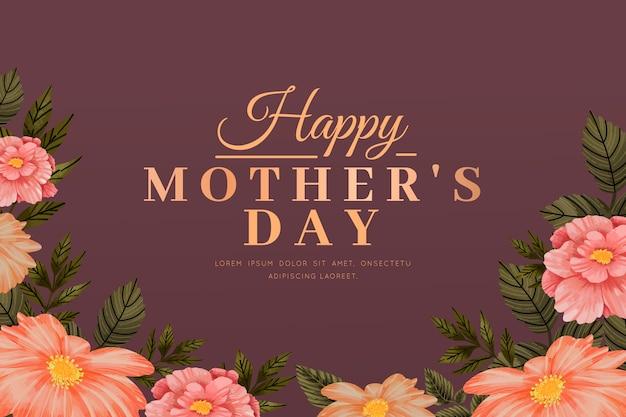 Tapeta Na Dzień Matki Z Kwiatami Darmowych Wektorów
