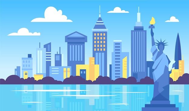 Tapeta Przedstawiająca Punkty Orientacyjne Miasta Do Wideokonferencji Darmowych Wektorów