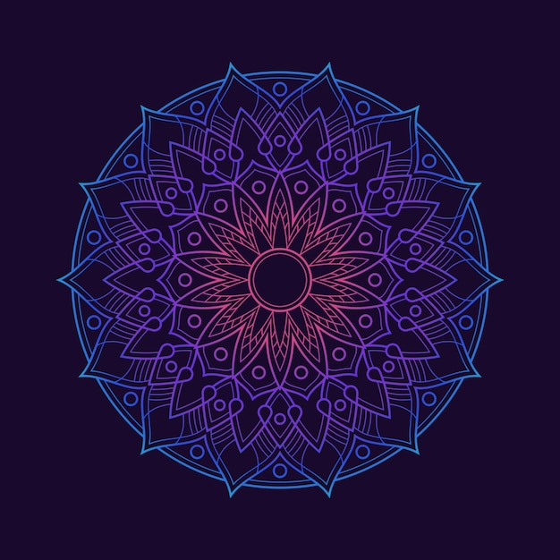 Tapeta W Tle Gradientu Kolorowej Mandali. Motyw Kwiatowy W Neonowym Kolorze. Arabeska Z Tkaniny. Premium Wektorów