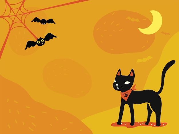 Tapeta Z Motywem Halloween Czarny Kot Pajęczyna I Słodkie
