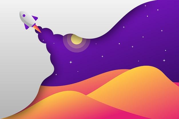 Tapetuje cięcie rakietową górę przy nocy ilustracją Premium Wektorów
