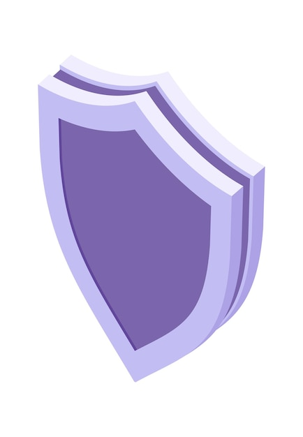 Tarcza Izometryczna Ikona Na Białym Tle Ilustracja Wektorowa, Symbol Ochrony I Bezpieczeństwa Darmowych Wektorów
