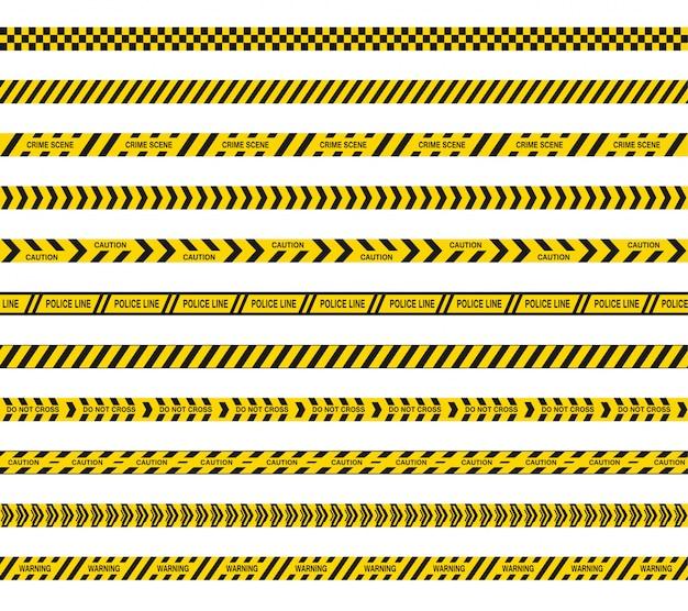 Taśmy Policyjne Lub Barykadowe Nie Krzyżują Się. Czarno-żółte Pasy Niebezpieczeństwa. Bezszwowe Linie Barierowe. Premium Wektorów