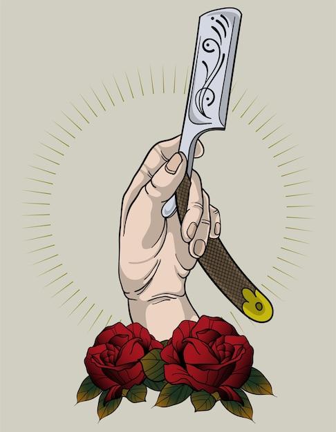 Tatuaż Sklep Fryzjerski Wektor Premium Pobieranie