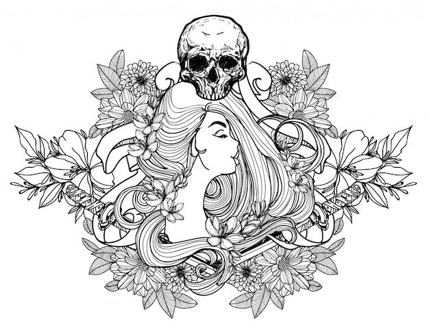 Tatuaż kobiety i rysunek ręka kwiat szkic czarno-białe Premium Wektorów