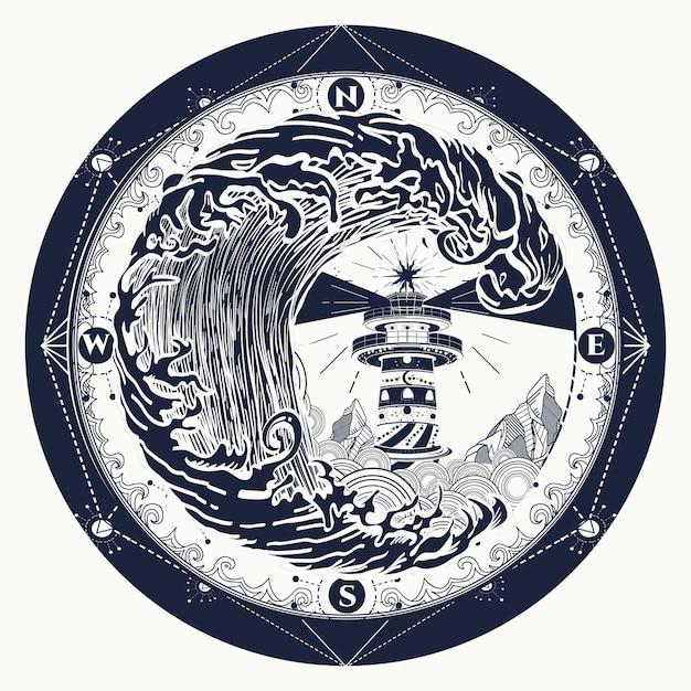 Tatuaż latarni morskiej i róży kompasu Premium Wektorów
