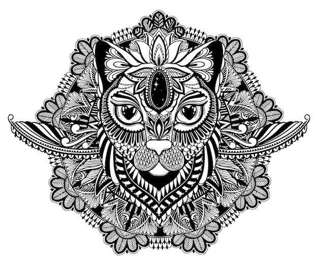Tatuaż Mistyczny I Mandala Kota Premium Wektorów